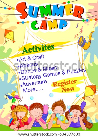 Vector Design Of Banner Poster Template For Kids Summer Camp Activities
