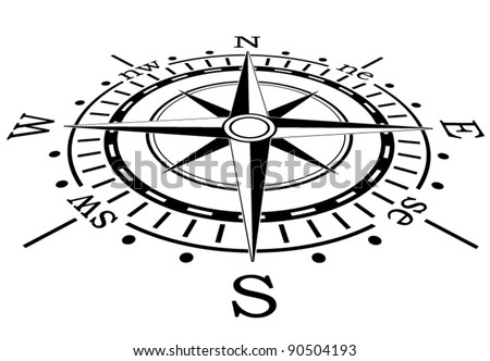 vector design of black compass - stock vector