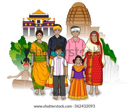 Vector design of Chhattisgarhi family showing culture of Chhattisgarh, India