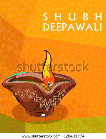 Vector design of colorful painted diya for Happy Diwali decoration - stock vector