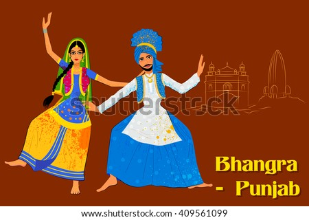 vector design couple performing bhangra folk stock vector