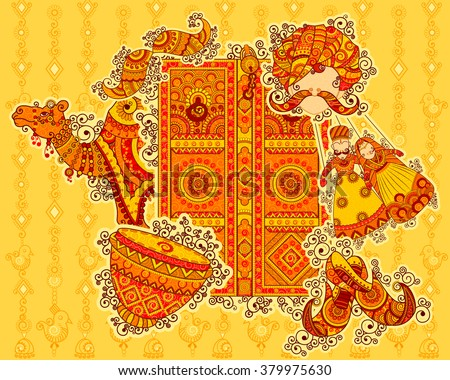 Vector design of culture of Rajasthan in Indian art style - stock vector