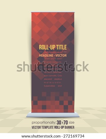 Vector Design of Dark Style Roll-Up Banner, Advertising Abstract Background  - stock vector