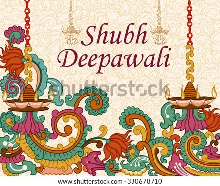 Vector design of Diwali decorated diya in Indian art style wishing Shubh Deepawali (Happy Diwali) - stock vector