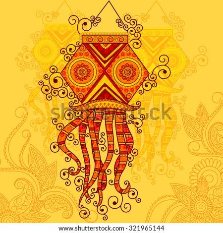 Vector design of Diwali hanging Lamp in Indian art style - stock vector