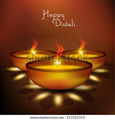 Vector design of Diwali oil lamp or Diya for Diwali festival. - stock vector