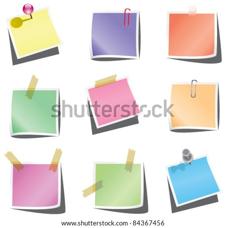 vector design of empty paper notes with push pin and paperclip - stock vector