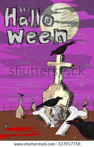 Vector design of Halloween greeting background - stock vector