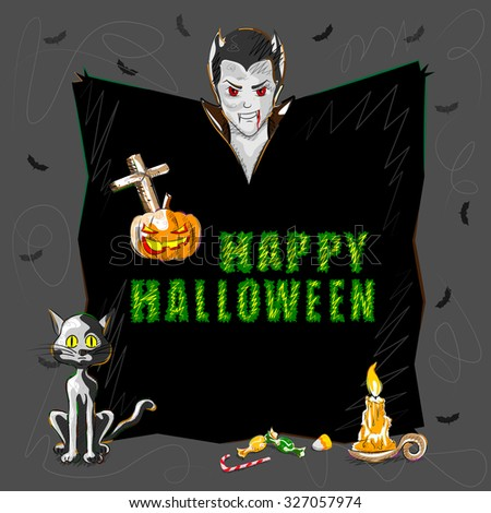 Vector design of Halloween greeting background - stock vector