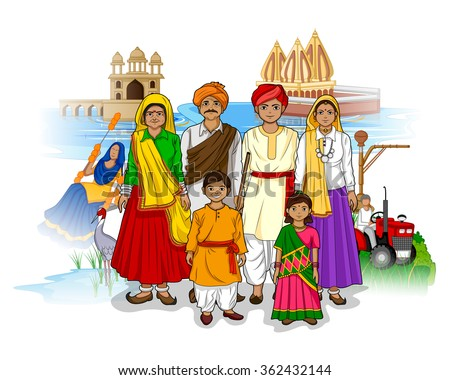 Vector design of Haryanvi family showing culture of Haryana, India