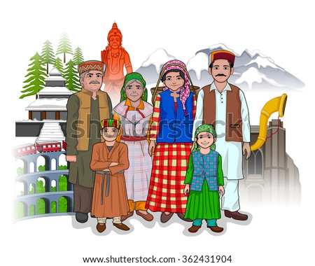 Vector design of Himachali family showing culture of Himachal Pradesh, India