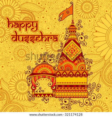 Vector design of hindu temple Happy Dussehra in Indian art style - stock vector