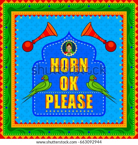 Vector design of Horn Ok Please background in Indian Truck Art style