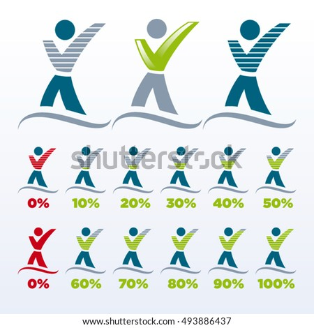 Vector design of human icons representing trust percentage with green check mark