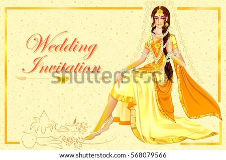 Vector Design Indian Woman Bride Haldi Stock Vector 2018 568079566