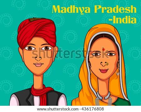 Vector design of Madhya Pradeshii Couple in traditional costume of Madhya Pradesh, India - stock vector