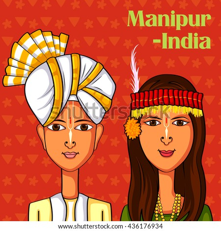 Vector design of Manipuri Couple in traditional costume of Manipur, India - stock vector