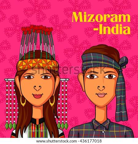 Vector design of Mizo Couple in traditional costume of Mizoram, India - stock vector