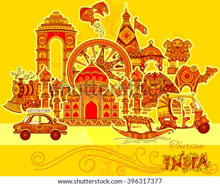 Vector design of monument and culture of India in Indian art style - stock vector