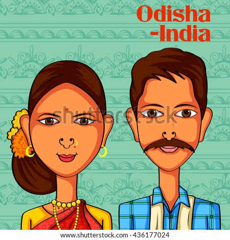 Vector design of Odia Couple in traditional costume of Odisha, India - stock vector