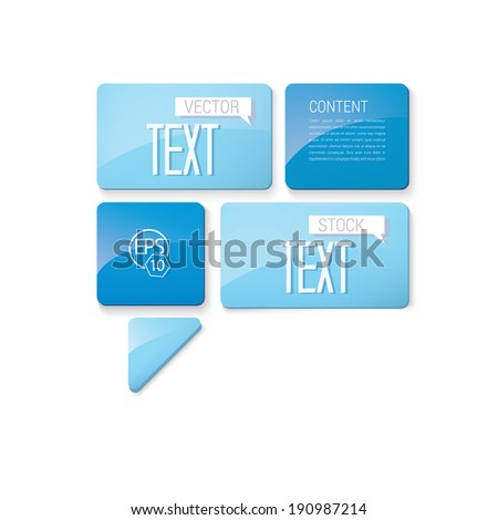 Vector design of price tag series. Blue edition of abstract geometric rounded rectangle scalable 3d vector composition of sheets for: infographics, brochure, web design, or page layout - stock vector