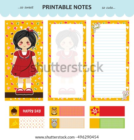 Vector design of printable notes, cover and pages, with line and without. Little stickers or bookmarks with cute kid design. Kawaii anime girl art, festive colors. Yellow background. Printing notebook