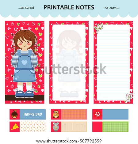 vector design of printable notes cover and pages with line and without little