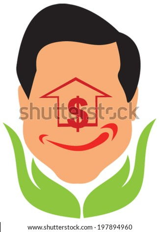 Vector design of Smile face sign with a house or upward arrow with a green color hand holding concept of eco friendly happy investment. - stock vector