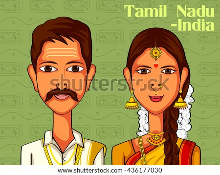 Vector design of Tamil Couple in traditional costume of Tamil Nadu, India - stock vector