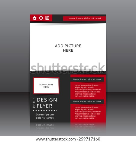 Vector design of the black flyer whit red elements and place for pictures. Poster template for your business. - stock vector