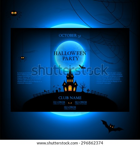 Vector design of the brochure for halloween. Template of poster with terrible house on blue background. Halloween party greeting card. - stock vector
