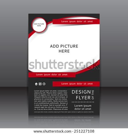 Vector design of the flyer whit black and red elements and place for pictures. Poster template for your business. - stock vector