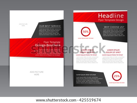 Set Vector Design Black Red Flyers Stock Vector