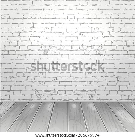 vector design of the room white brick wall background