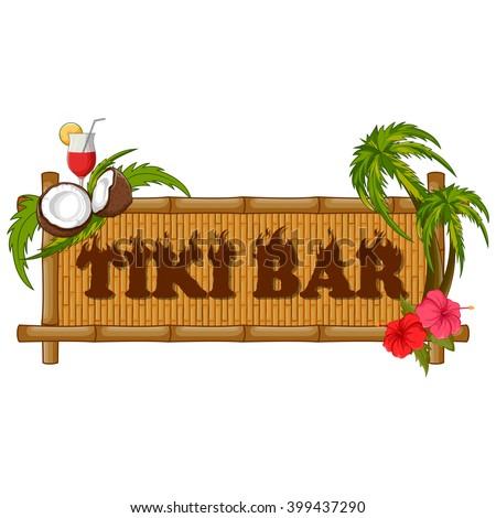 Vector design of Tiki bar poster on bamboo - stock vector