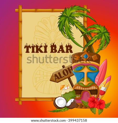 Vector design of Tiki bar poster with tribal mask - stock vector