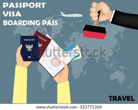 vector design of travel,visa stamping on passport with boarding pass on world map background. - stock vector
