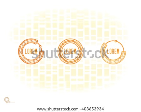 Vector design, Orange Color Edition of an Adjustable Eps10 Minimal Geometric List Elements with menu field for numbering or lettering, for universal use  - stock vector