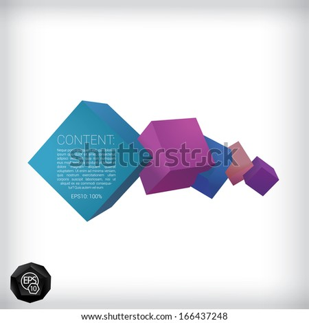 Vector design. Purple blue edition of a 3d abstract geometric scalable eps10 horizontal composition of cubes in a clean white space for infographics, webdesign or for brochure print graphic element - stock vector