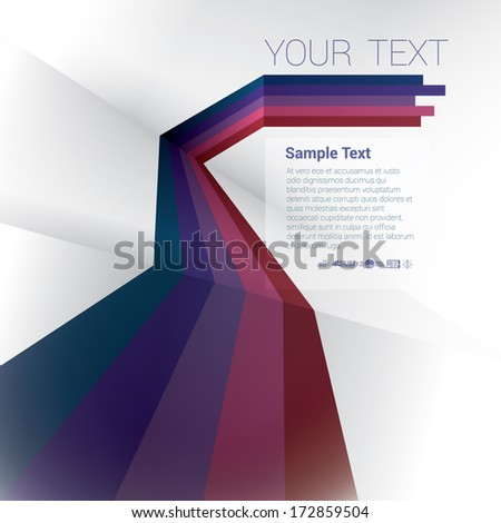 Vector design. Purple color scale edition of an abstract geometric background with trendy retro stripes & the sense of 3d with menu and text field as a layout for a brochure or web, for universal use  - stock vector