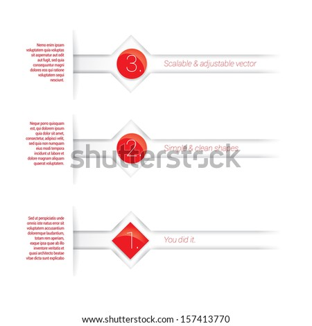 Vector design. Red, scalable abstract minimal geometric composition :  paper background based elements with content field for numbering or lettering, for shiny circles and rectangle for universal use - stock vector