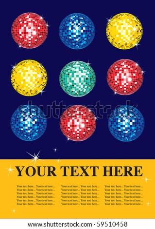 Vector design sample with multicolor shining discoballs - stock vector