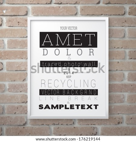 Vector design. Scalable and adjustable 3d, photo realistic background frame illustration with minimal white surface,  A4 format paper sheet content holder, for event invitation advertising element - stock vector