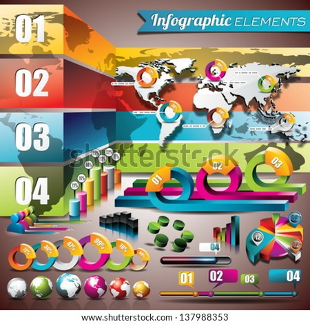 Vector design set of infographic elements. World map and information graphics. EPS 10 illustration