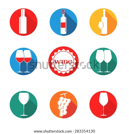 vector design set simbols for wine with glass, bottle, grape on round background different colors - stock vector