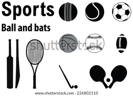 Vector design silhouette of various sports balls and bats - stock vector