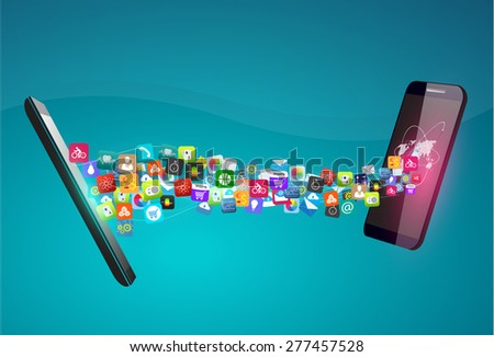 Vector design Smartphone with Application icon, Network and Technology Information concept on Smartphone, Data sync on two Smart phone ,Network Technology concept - stock vector
