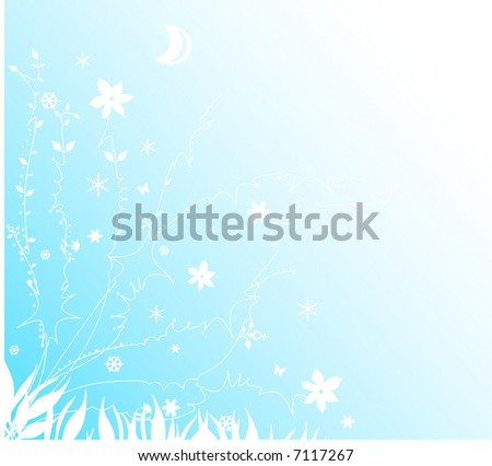 Vector Design - Snow and floral background