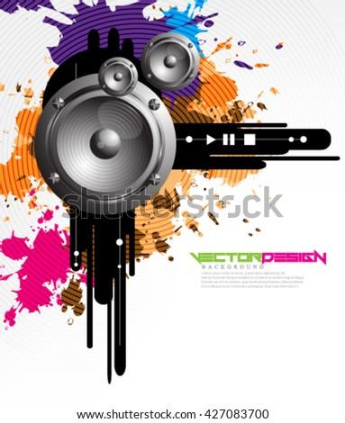 Vector Design Speakers Background - stock vector