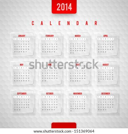 Vector design template -  Calendar of 2014 - stock vector